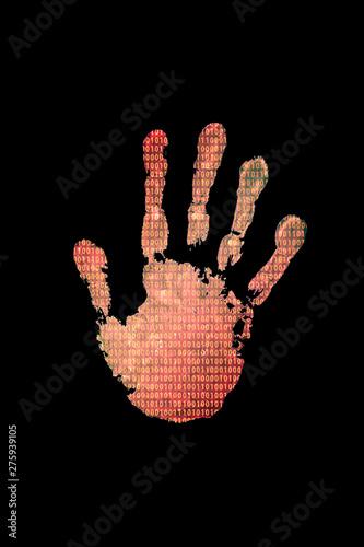 Fototapety, obrazy: Handprint with binary code background