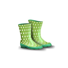Rubber Green Boots Isolated On White Background For Your Creativity