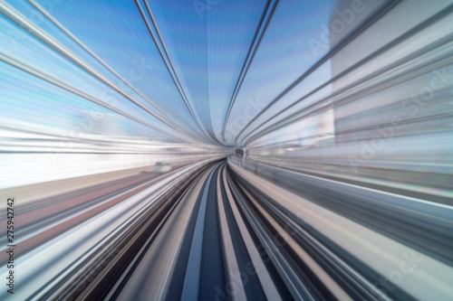 Fototapeta  Furistic scene Motion blur movement from tokyo japan train of Yurikamome Line mo