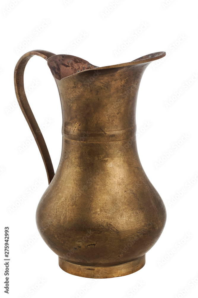 Fototapety, obrazy: Old copper jug isolated on white background