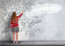 Little Girl Drawing The Sketch On The Wall. Education Concept Drawing With Icons And Symbols. Background For Your Text Or Advertisement.