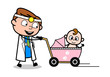 Strolling with Baby - Professional Cartoon Doctor Vector Illustration