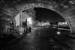 canvas print picture - Ghent by Night - Under the Saint-Michaels Bridge, Gent, Belgie, Belgium