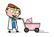 Holding a Baby Stroller - Professional Cartoon Doctor Vector Illustration