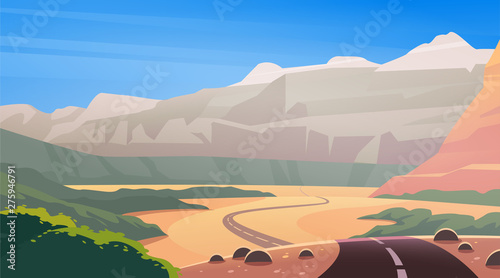 Fotografie, Obraz  Vector flat landscape illustration of wild west desert & mountain canyon nature view with clean blue sky sky