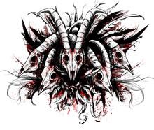 A Bunch Of Creepy Bloody RAM Skulls , Symmetrically Laid Out.