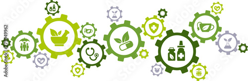 Stampa su Tela  green alternative medicine / herbal medicine / natural pharmaceuticals icon conc