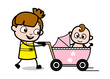 Walking with Baby in Stroller - Cute Girl Cartoon Character Vector Illustration