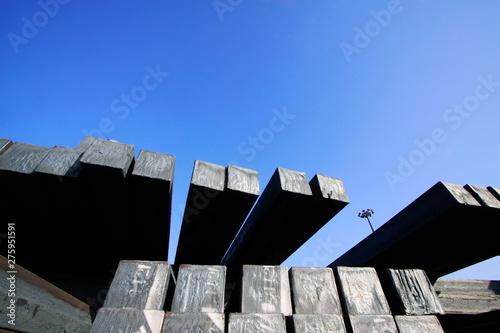 Foto op Plexiglas Stadion Steel ingot under the blue sky
