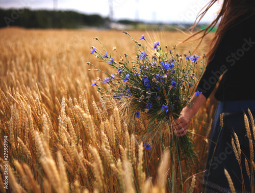 woman walking in the rye field