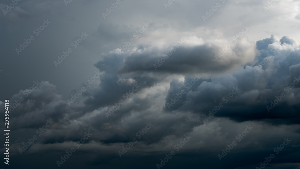 Fototapeta Weather in summer with black cloud and storm, Dark sky and dramatic storm clouds