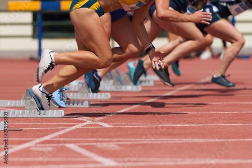 Stampa su Tela Group of female track athletes on starting blocks