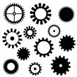 a set of gears of different shapes black on a white background