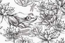 Frog With Water Lilies, Seamless Pattern. Hand-drawn, Vector Illustration.