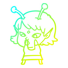 Cold Gradient Line Drawing Pretty Cartoon Alien Girl