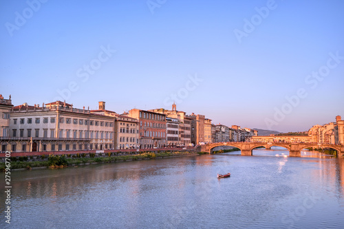 A view of the Arno River and the Ponte Vecchio in Florence, Italy Canvas Print
