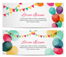 Color Glossy Balloons Birthday Party Card Background. Vector Illustration