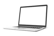 Laptop Computer With Blank Whi...