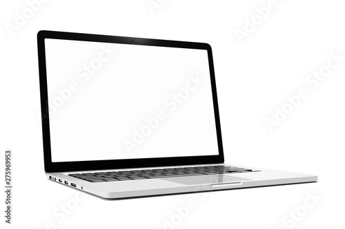 Obraz Laptop computer with blank white screen isolate on white background. screen mockup template - fototapety do salonu