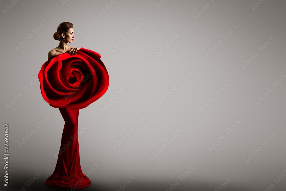Fototapety, obrazy: Fashion Model Rose Flower Dress, Elegant Woman Red Art Gown, Beauty Portrait