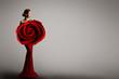 Fashion Model Rose Flower Dress, Elegant Woman Red Art Gown, Beauty Portrait