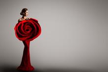 Fashion Model Rose Flower Dres...
