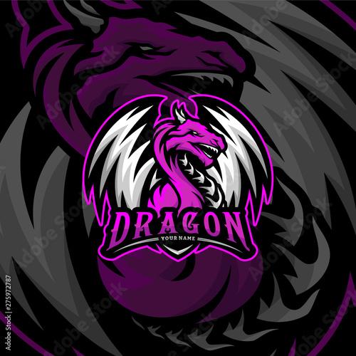 Dragon eSports Logo Design Vector Canvas Print