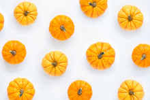 Pumpkins Patterned Over White ...