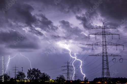 Lightning Strike into Powerlines Canvas Print