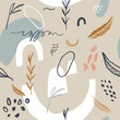 Abstract spring or summer seamless pattern with abstract shapes and leaves in light pastel beige and white color background. Greeting card template, wall art. Vector EPS.