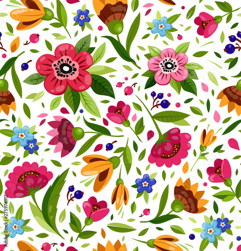 Vector seamless flower pattern. Cute floral pattern with colorful flowers, berry, leaves. Bright, warm summer pattern. - 275976912