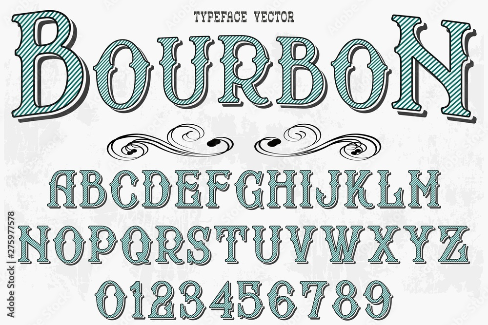 Fototapety, obrazy: Retro Typography Vector Illustration.Outlined Typeface.