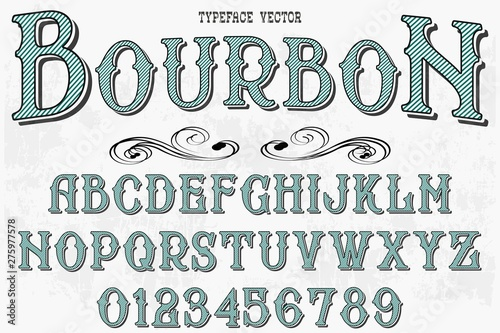 Valokuva  Retro Typography Vector Illustration.Outlined Typeface.