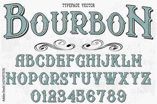 Fényképezés  Retro Typography Vector Illustration.Outlined Typeface.