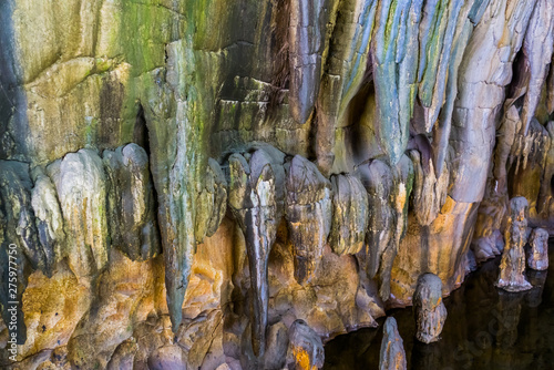 Garden Poster Fantasy Landscape stalagmite stones hanging on the ceiling of a drip cave, beautiful underground scenery