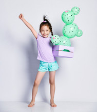 Little Asian Girl Kid With A Flower Box Celebrates She Grew A Cactus Balloon With Pink Flowers In It