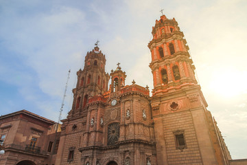 June 20, 2019 San Luis Potosí, Mexico:Churches of the historic center of the ...