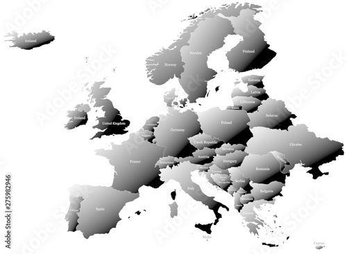 Map Of Europe Without Russia Split Into Individual Countries With Labels Gradual Coloring Of Countries From White To Black Creating A 3d Effect Buy This Stock Vector And Explore Similar Vectors