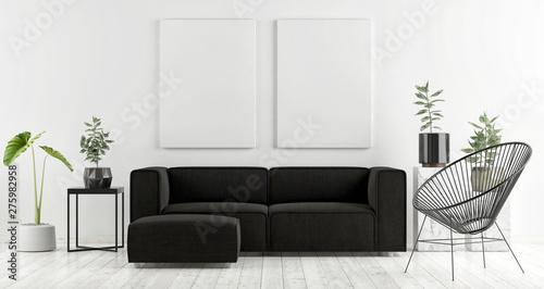 Fotografía  Mock up poster with dark sofa, Scandinavian design, 3d render, 3d illustration