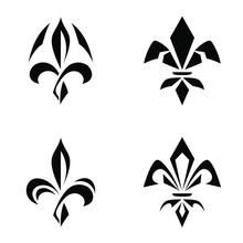 Sign And A Lily Logo, A Strict One-color Silhouette Of A Fleur-de-lis