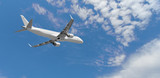 Fototapeta Panels - Airplane flying in the blue sky,