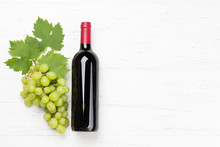 Red Wine Bottle And Grape