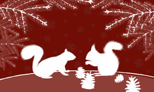 Two Squirrels With Pinecone In Christmas Red Vector