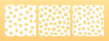 Set Of Vector Fresh Simple Fruit Seamless Pattern. Irregular Composition Of Ripe Lemon Texture Isolated On White Background. Design Repeate Tile For Decorative Textile, Backdrop, Wrapping Paper.