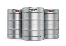 Metal Beer Kegs Isolated On Wh...