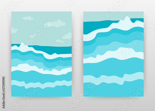 Foto auf AluDibond Turkis Blue waves on sea for surfing business design for annual report, brochure, flyer, poster. Blue waving landscape background vector illustration for flyer, leaflet, poster. Abstract A4 brochure template