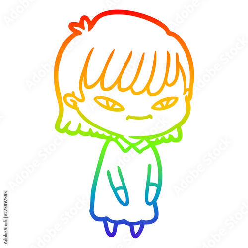 Fotografia  rainbow gradient line drawing cartoon woman