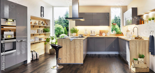 Obraz Modern kitchen with island and window - fototapety do salonu