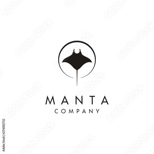 Obraz na plátně Silhouette of Tropical Black Manta Ray logo design
