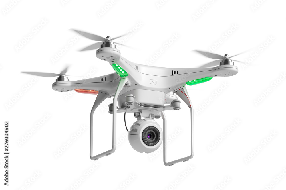 Fototapety, obrazy: Flying quadcopter drone with camera 3d